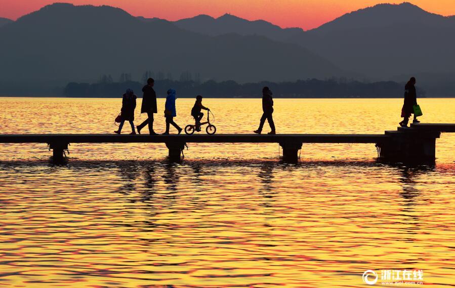 昨天日落西湖美轮美奂_图片_平安杭州网