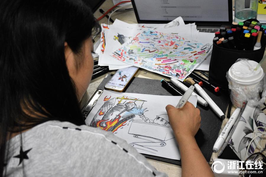 杭州大学生手绘消防漫画